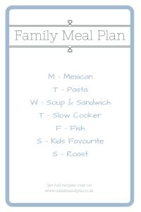 Meal planning tips, meal plan dinner theme days, easy family food from daisies and pie
