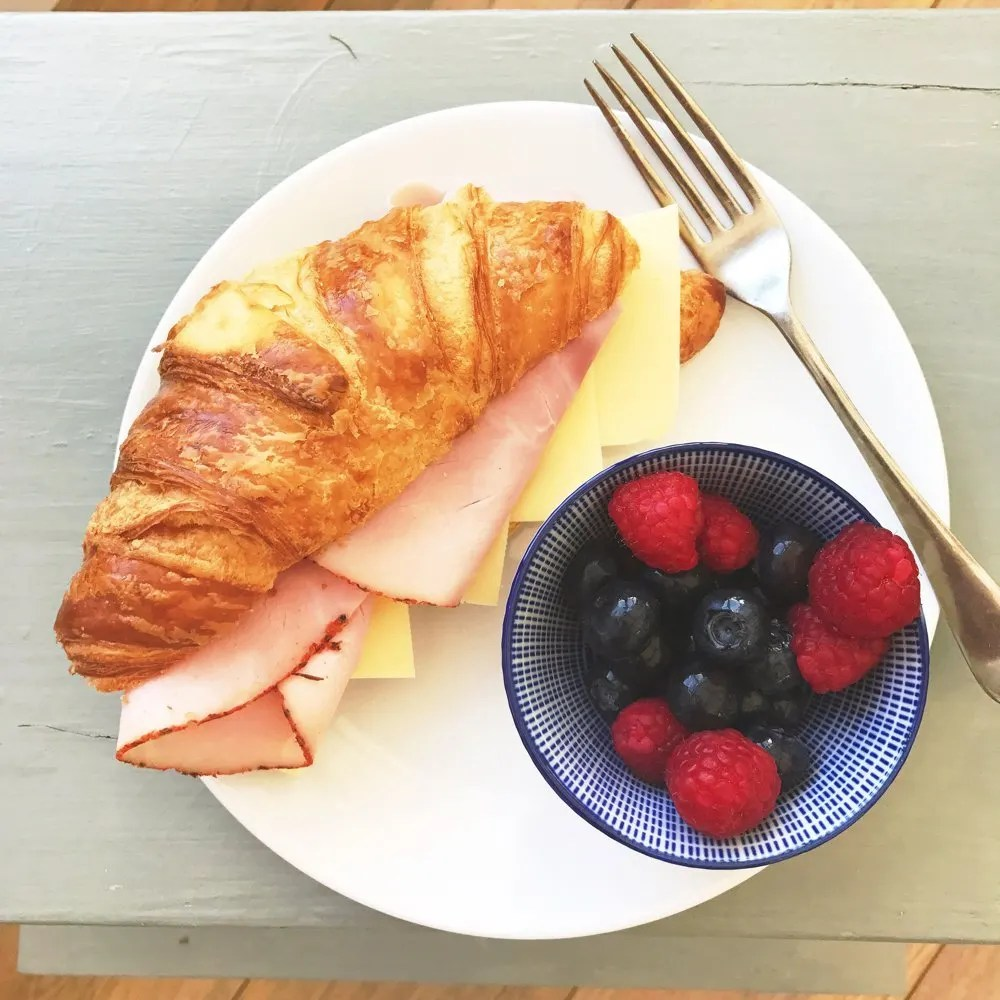 Tasty ham and cheese croissants