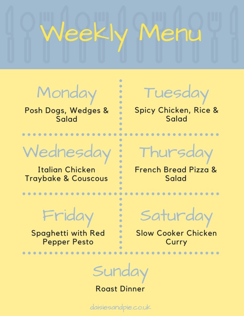 Weekly family meal plan, easy family dinner recipes, family food