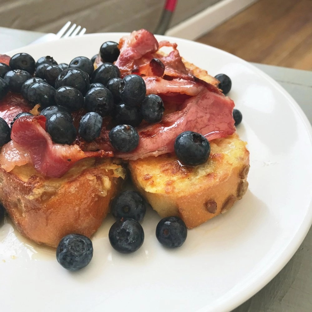Eggy Bread with Bacon and Blueberries
