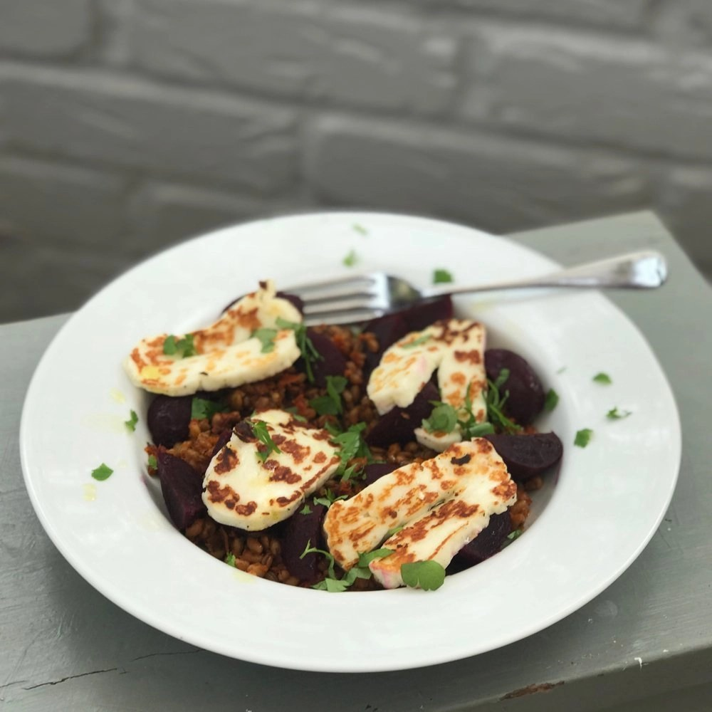 Spelt Salad with Halloumi and Baby Beets