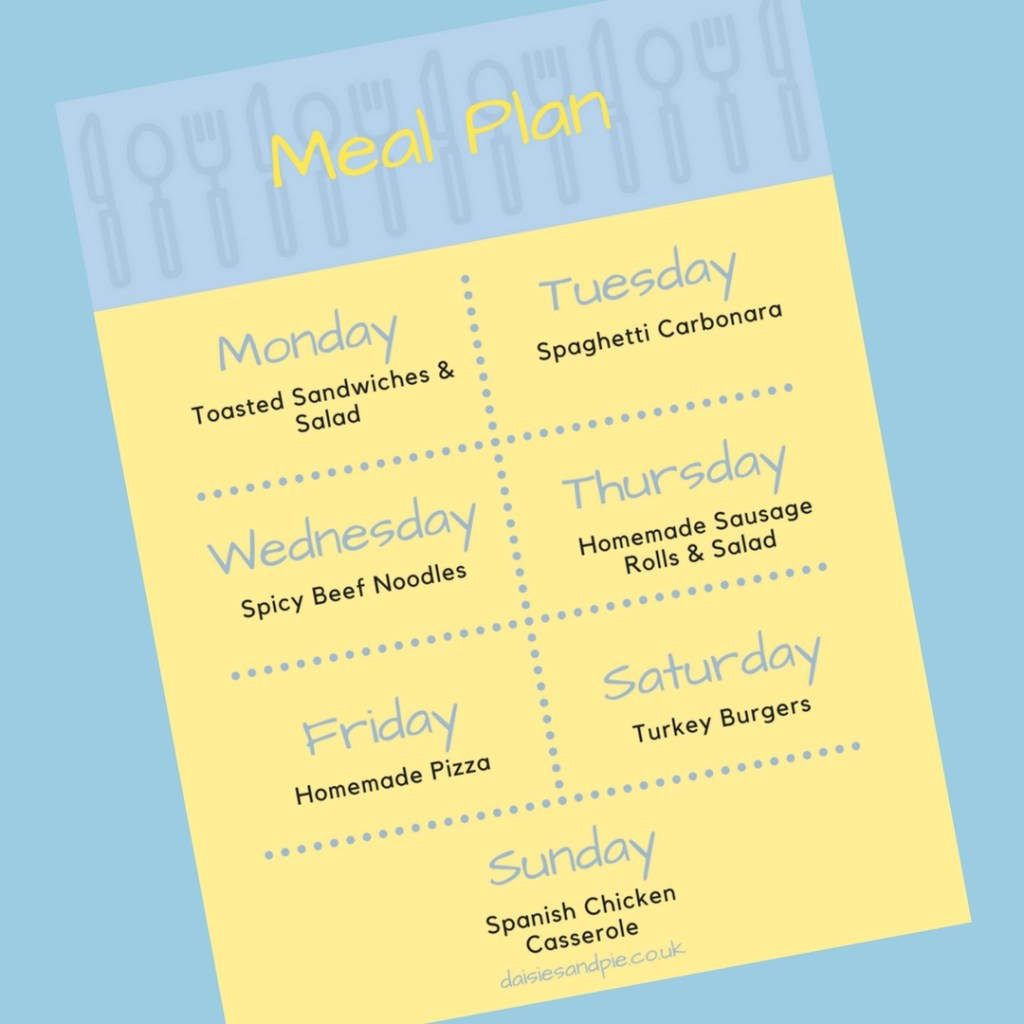 Weekly Family Meal Plan 16th April 2018