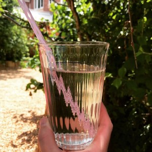 glass of elderflower and rose cordial made up with sparkling water and served with a pink reusable straw