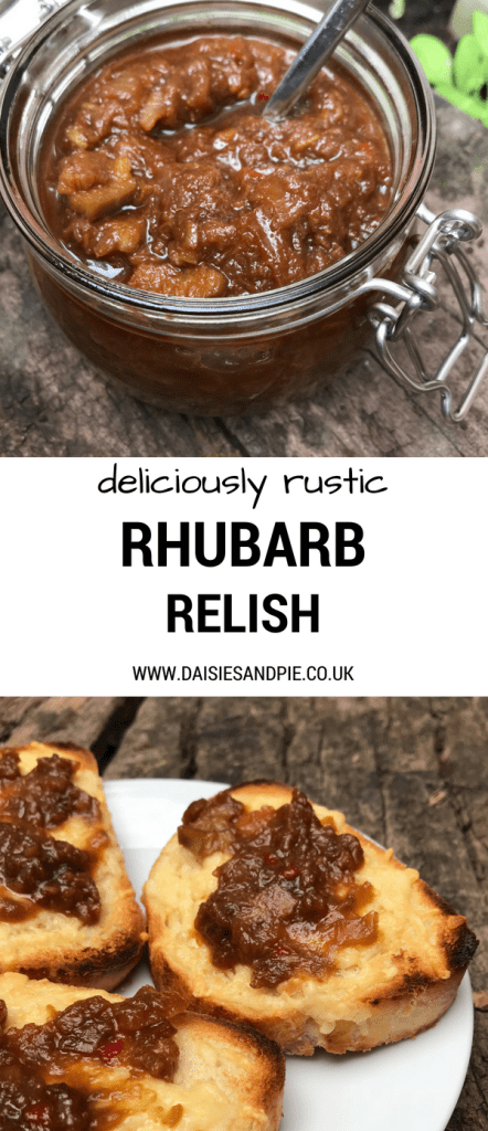 "kilner jar filled with homemade quick rhubarb relish. Text overlay saying ""deliciously rustic rhubarb relish"""