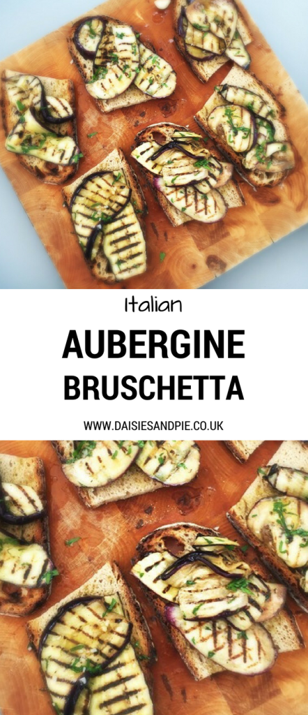 """wooden board with six bruschetta topped with grilled aubergines. Text overlay saying """"Italian aubergine bruschetta www.daisiesandpie.co.uk"""""""