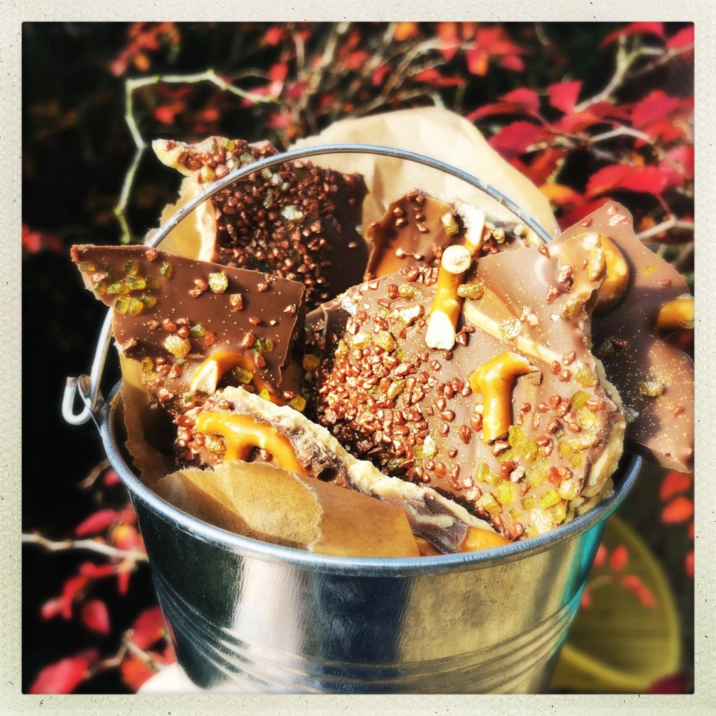 Bonfire bark - silver bucket of homemade chocolate bark for bonfire night, decorated with salted pretzels, edible glitter, gold and bronze crunch cake toppings. Bucket hanging from a tree with red autumn leaves