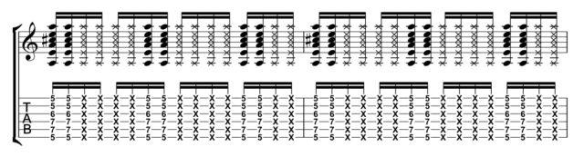 コードAブラッシング楽譜
