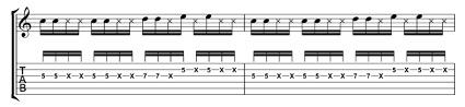 単音カッティング3音楽譜
