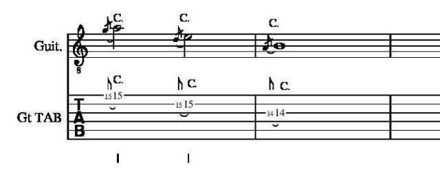 1、2、3弦1514フレットチョーキング