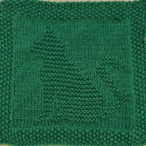 Free knitting pattern for cat washcloth or afghan square