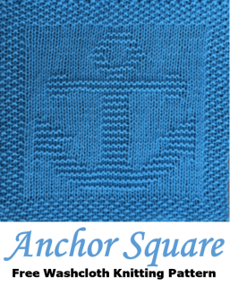 Anchor free knitting pattern for dishcloth, washcloth, afghan square