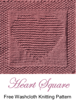 free knitting pattern heart washcloth dishcloth afghan square