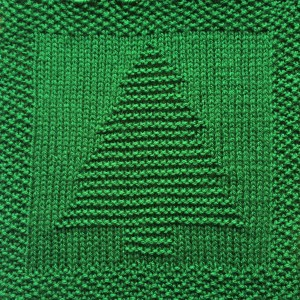 Free Christmas Tree Washcloth or Afghan Square Knitting Pattern