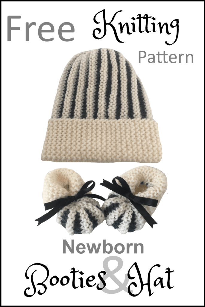 82b99f826fac45 Quick and Easy Newborn Baby Booties and Hat Free Knitting Pattern