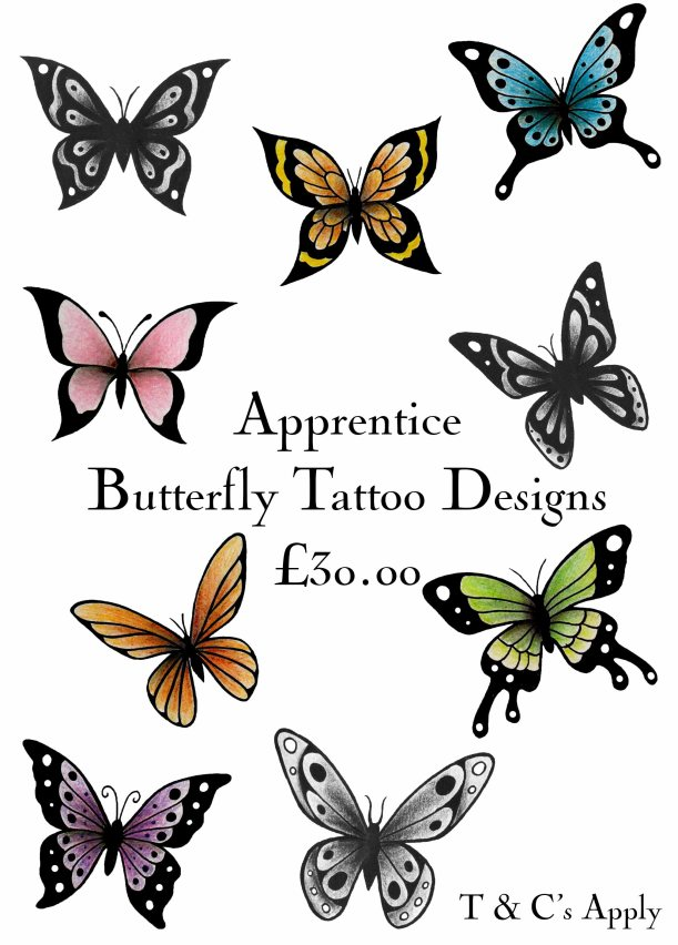 Butterfly, Butterflies, Colour, Black and Grey, Bright, Tattoo, Designs, Drawing, Apprentice, Flash, Secret Ink, Truro, Cornwall