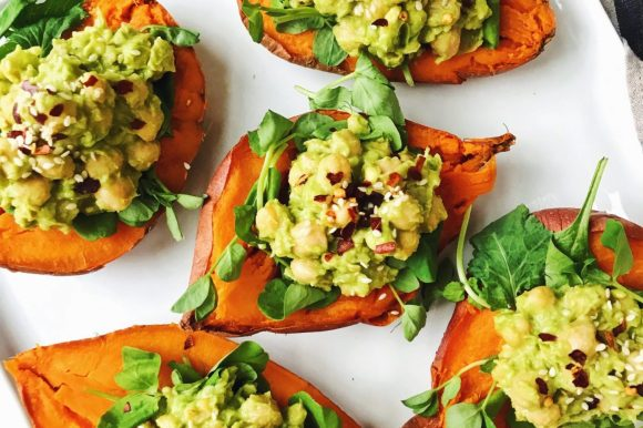 Chickpea + Avocado Stuffed Sweet Potatoes