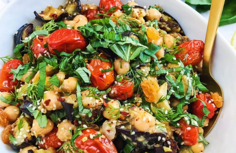 chickpea and roasted vegetable salad
