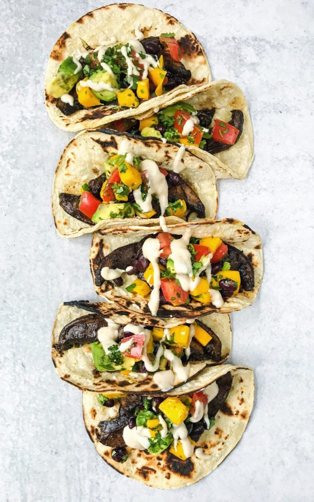 mushroom tacos with mango avocado salsa