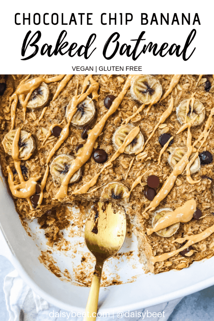 Banana baked oatmeal with chocolate chips and peanut butter