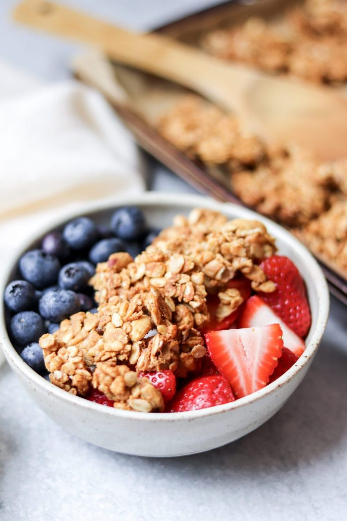 peanut butter granola, fruit, and yogurt bowl