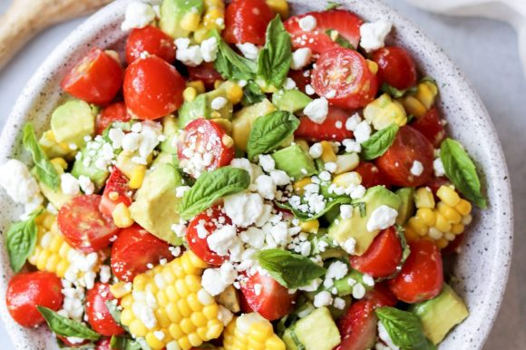 Corn, Avocado, and Tomato Salad with Strawberries and Goat Cheese (Gluten Free)