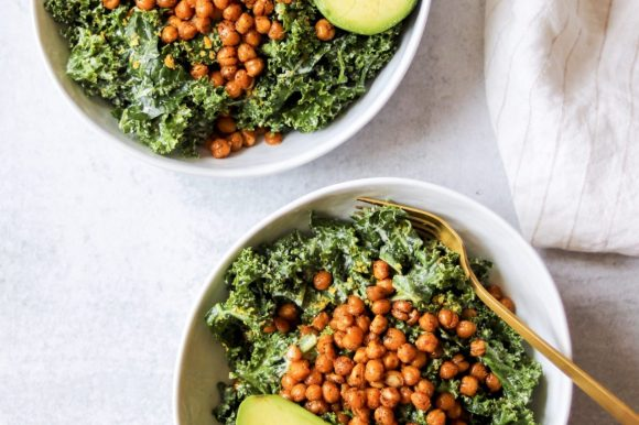 Kale Caesar Salad with Spice Roasted Chickpeas (Dairy Free, Gluten Free)
