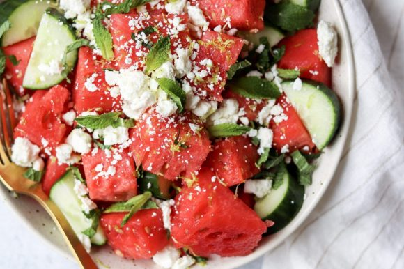 Watermelon Feta Salad with Cucumber and Mint (Gluten Free)