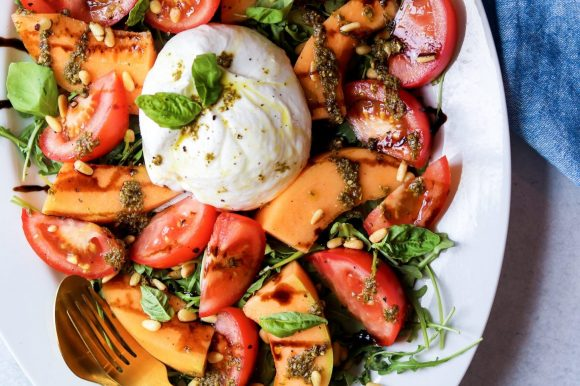 Burrata Salad with Tomatoes and Melon (Gluten Free)