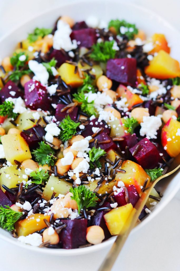 Roasted Beet and Goat Cheese Salad with Wild Rice and Chickpeas - Daisybeet