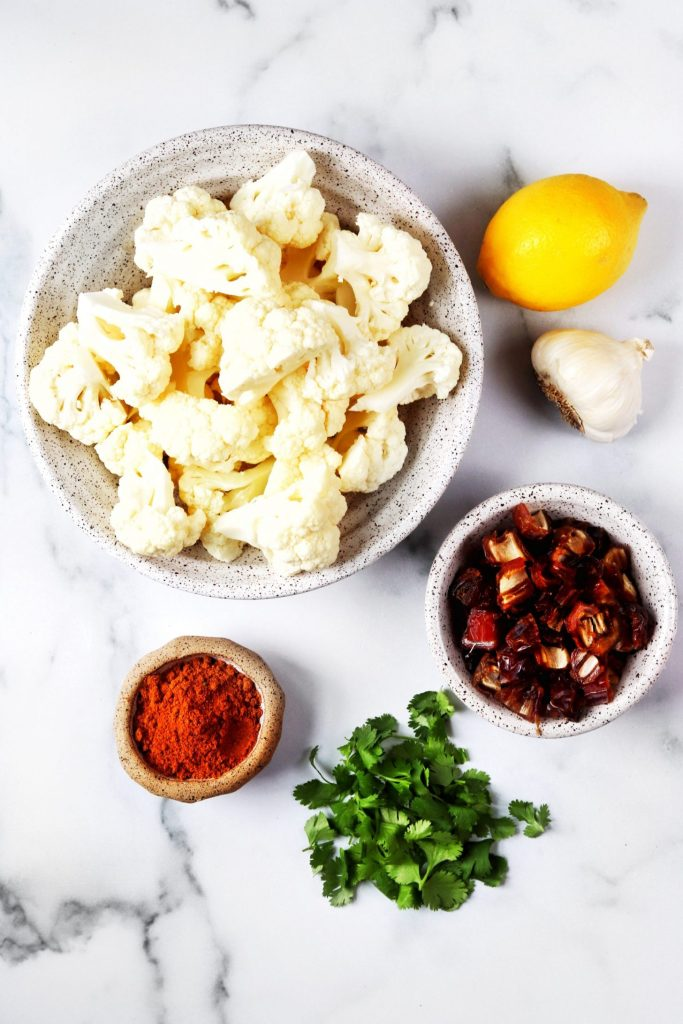 Moroccan spiced cauliflower ingredients