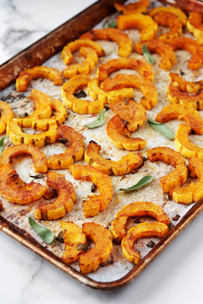 Tray of roasted delicata squash - Daisybeet