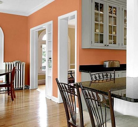 Kitchen Wall Color - White and Peach