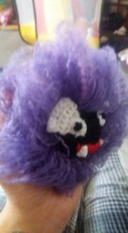 Gastly was a tricky one but he was completed by splitting the yarn and brushing it out...in the end he ended up being a bit of an Elvis impersonator