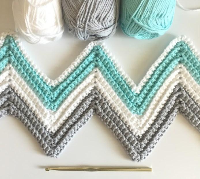 Single Crochet Chevron Blanket in Mint, Gray, and White