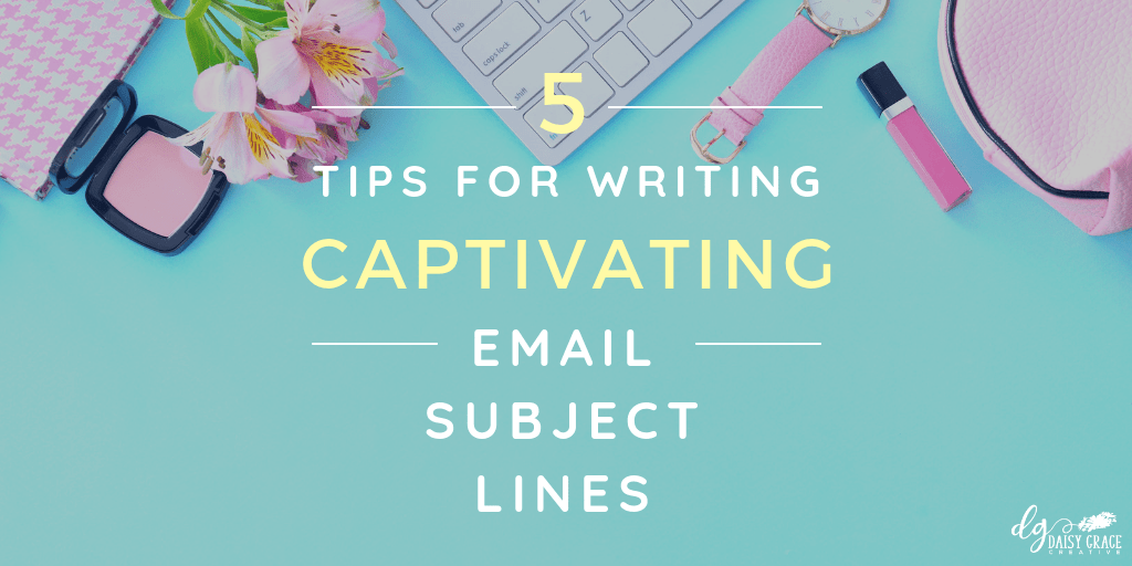 """Turquoise background with keyboard and flowers. Text overlay """"5 Tips for Writing Captivating Email Subject Lines"""""""