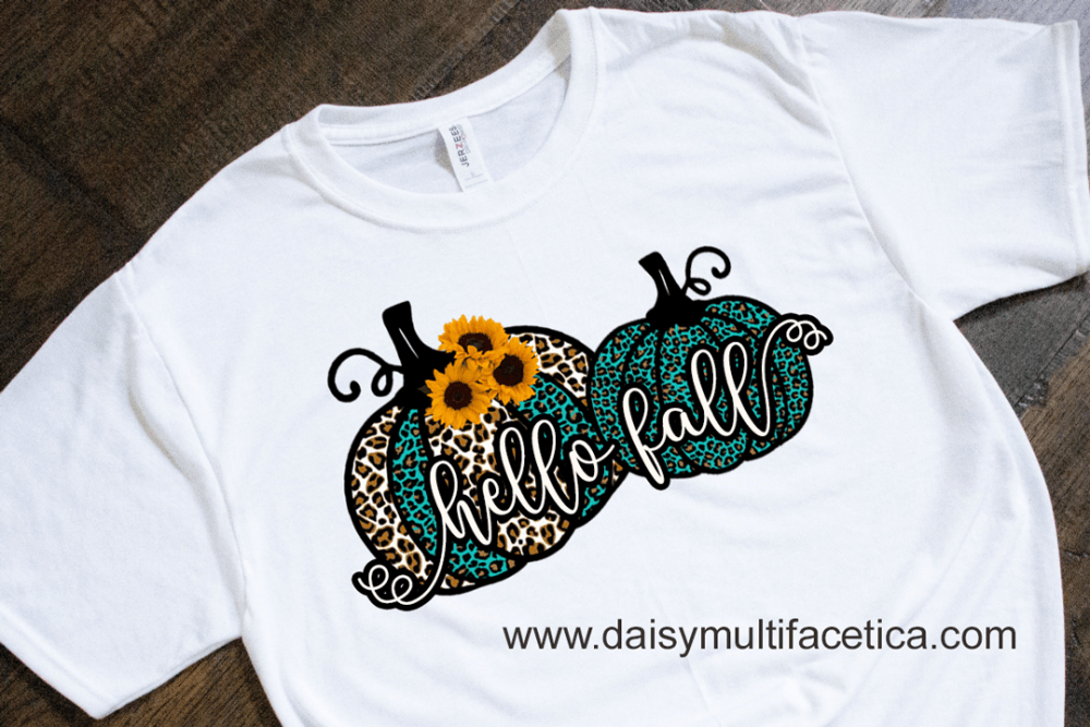 Two Pumking + Hello Fall PNG Sublimation Design.