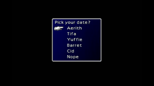 Final Fantasy VII Date Selection
