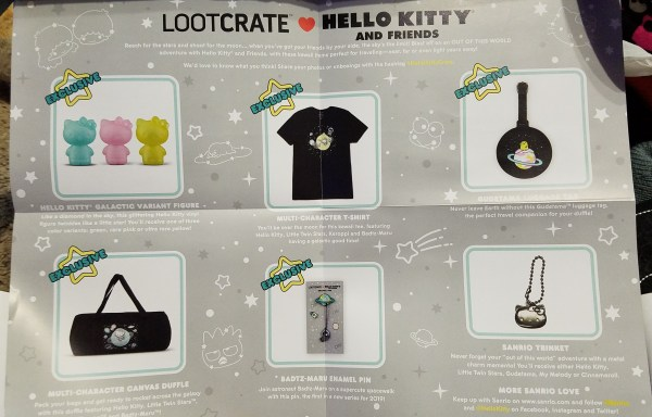 Hello Kitty and Friends Crate Out of this World: Item list