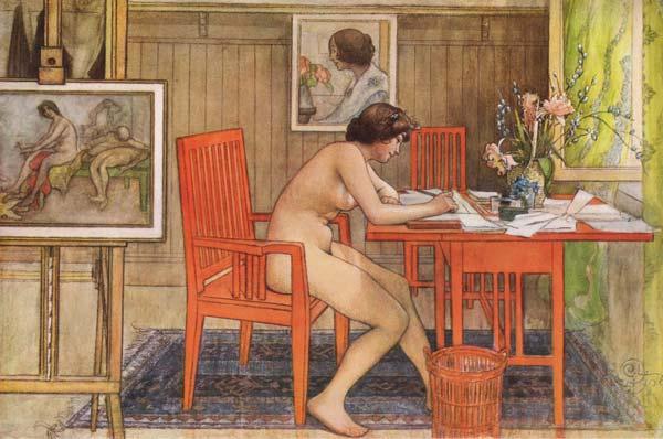 Das Bild »Model Writing Postcards« (1906) von Carl Larsson zum Thema »Was ist Kultur?«.