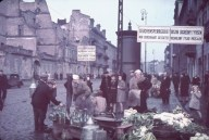 Warsaw, Nazi-occupied Poland, 1940. The signs read, 'Typhus area. Passage permitted only while traveling.'