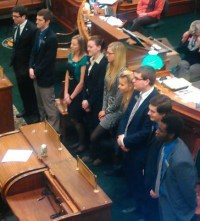Interns for the 2015 South Dakota Legislature receive congratulations from SD Senate at end of session, 2015.03.13.