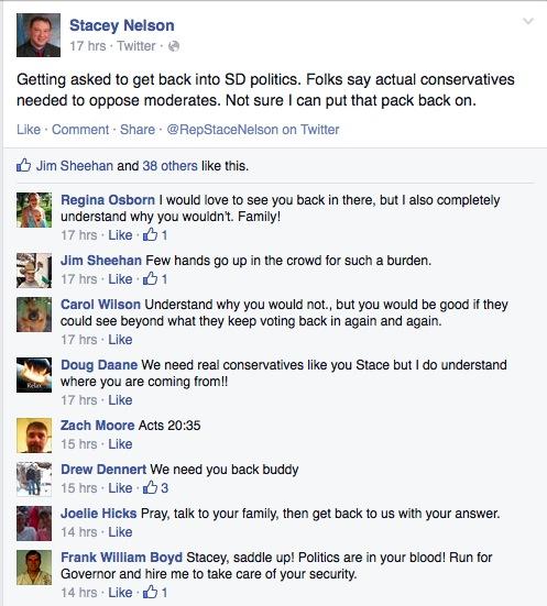 Stacey Nelson, Facebook post, 2015.03.07, screen cap taken 3015.03.08