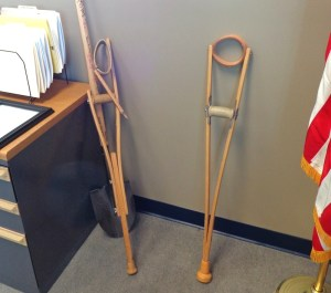 Crutches of friends past in Mayor Sam Kooiker's office, Rapid City, South Dakota.