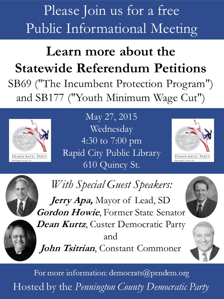 Public information session, statewide referenda, SB 69 and SB 177, Rapid City, May 27, 2015