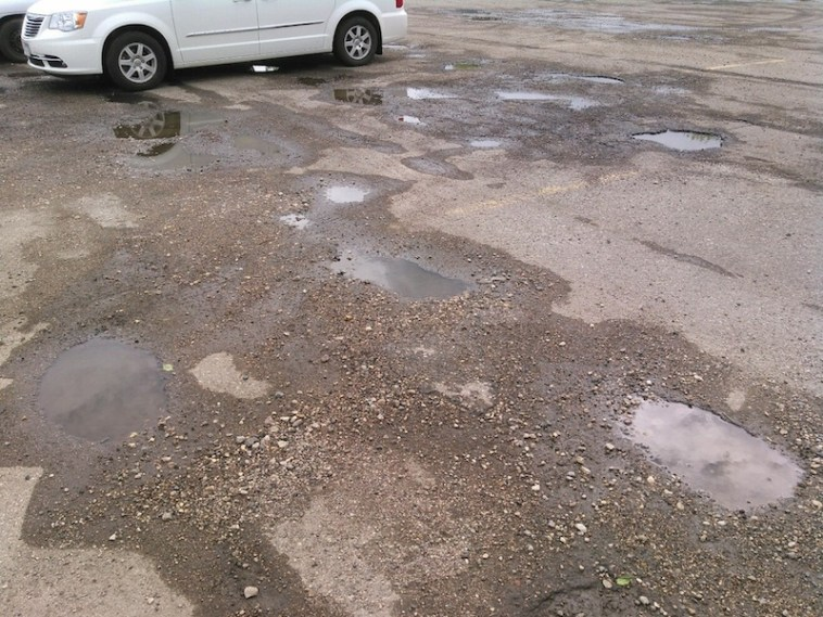 Rocks and puddles, Aberdeen Mall parking lot, 2015.05.25