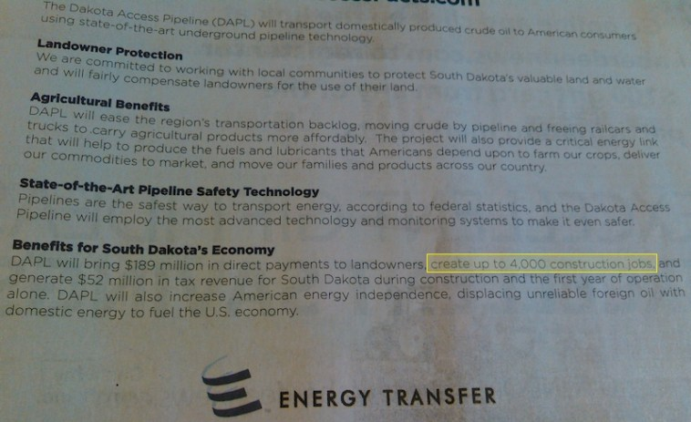 Energy Partners, propaganda for Dakota Access Pipeline, Aberdeen American News, 2015.05.04, p. 9A. (Highlighted text shows job-creation claim.)