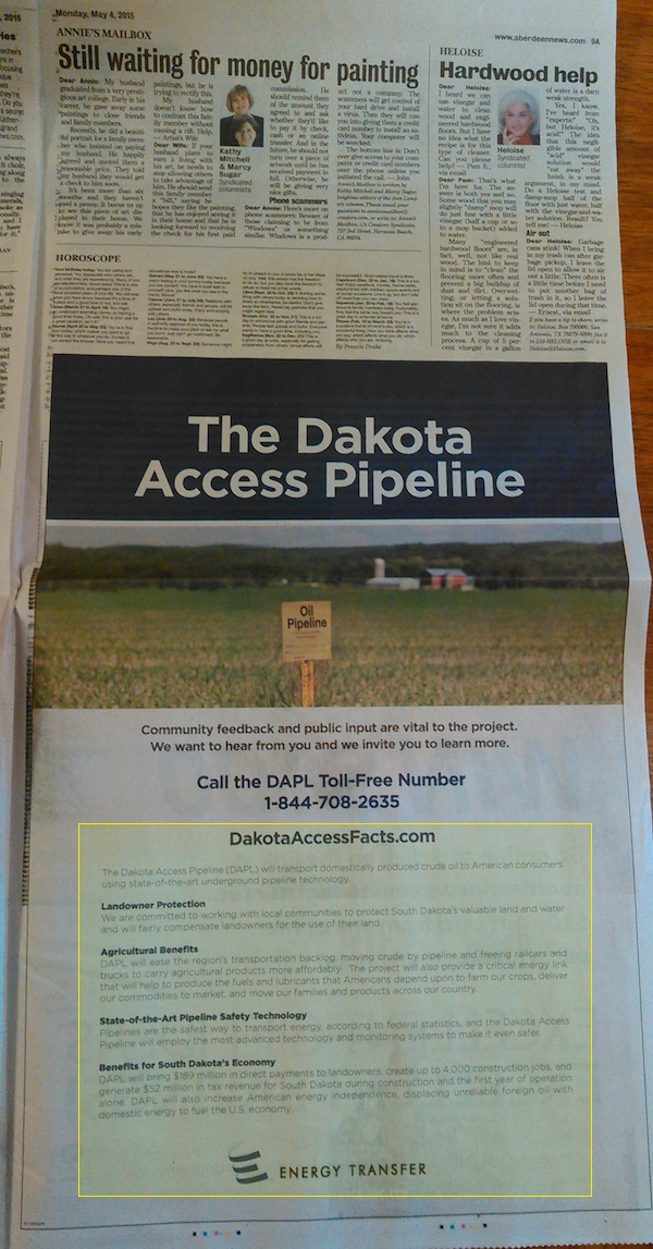 Energy Partners, propaganda for Dakota Access Pipeline, Aberdeen American News, 2015.05.04, p. 9A.