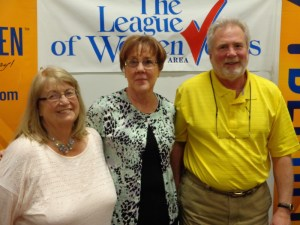Sherrie Gray, Linda Burdette, and Bradley W. Olson, candidates for Aberdeen School Board, at League of Women Voters forum, Saturday, May 9, 2015.