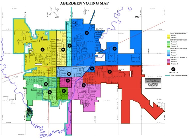 Aberdeen SD voting precincts and city council districts