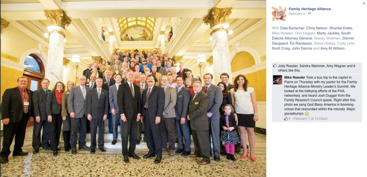 Josh Duggar, fifth from right, as South Dakota State Capitol, Pierre, South Dakota, February 5, 2015. Photo by Family Heritage Alliance.